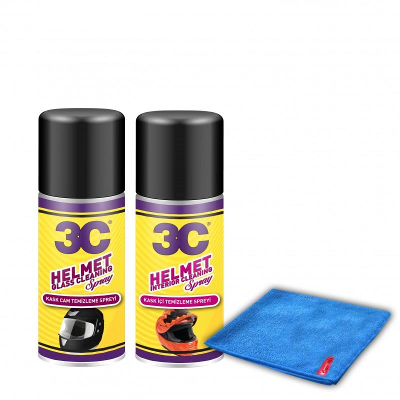 3C Kask Camı Temizleme - Kask İçi Temizleme 200 ML Uygulama Bezi Hediyeli