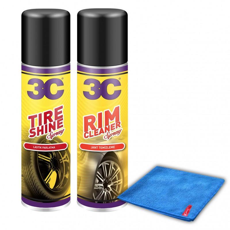 3C Jant Temizleme - Lastik Parlatma Alana Mikrofiber Bez HEDİYE