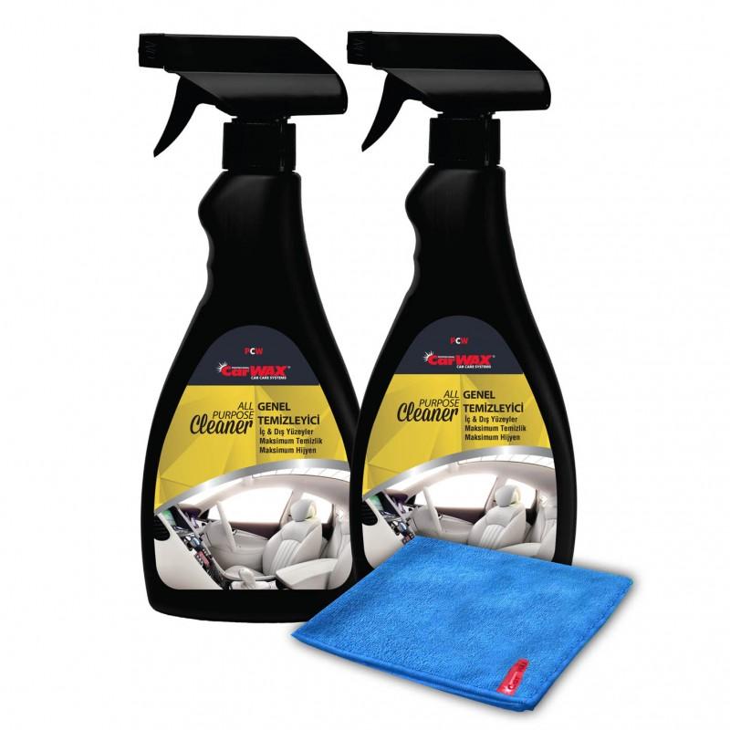 CARWAX - All Purpose Cleaner 2'li- 500 ML - Genel Temizleyici + Mikrofiber Bez Hediye